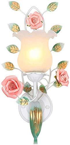 GBX Lichter für Wand, Wandleuchte Romantische Schlafzimmer Dekoration Lampe Keramik Blume Nachtwand Trübe Farbe Behandlung Rost Gemeinsame Sprache Glas + Eisen 45 × 22 Cm Wandleuchten, Wandleuchten, -