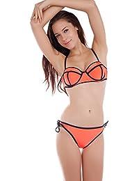 maboobie orange fluo 2 pcs Maillots de bain Femmes fille Bikini Push-up Swimsuit S/M Bonnet B-C fluo sport suit basket plage