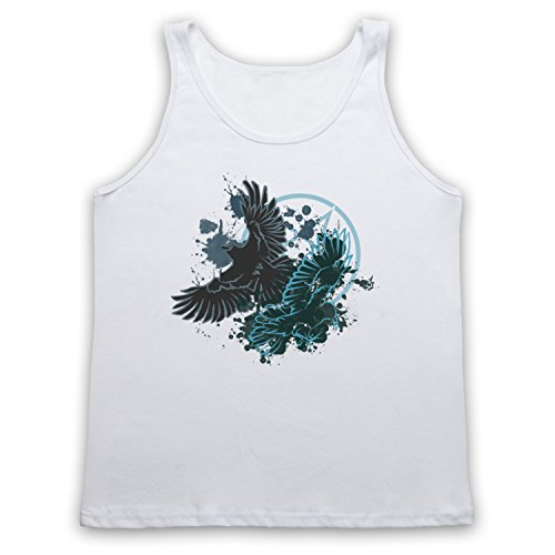 Ravens Gothic Illustration Tank-Top Weste Weis