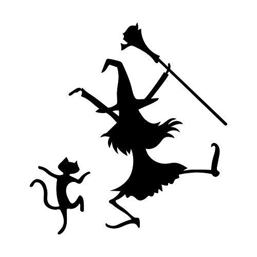 Wandtattoo aus Vinyl, Motiv: Tanzende Hexe und Katze, 61 x 58 cm, lustiges Halloween-Motiv, Dekoration für Innen- und Außenbereich, für Fenster, Wohnzimmer, Büro