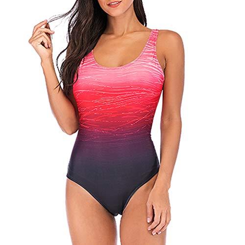 KEERADS Damen Badeanzug Bauchweg Puch Up Große Größen One Piece Figurformend Schwimmanzug Bademode Strandmode (M, Rot) -