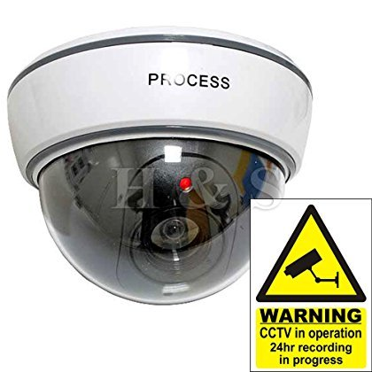 Fake Dummy CCTV Security Camera Flashing LED Indoor Outdoor – Dome White