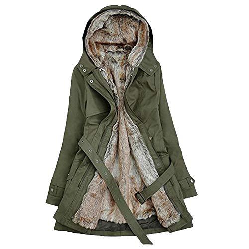 ESAILQ Damen Futter Mantel Winter Dicke Lange Jacke Mit Kapuze Parka(X-Large,Grün)