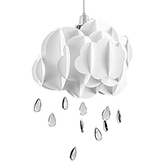 cute children 39 s bedroom baby nursery white layered rain cloud with acrylic jewel raindrop. Black Bedroom Furniture Sets. Home Design Ideas
