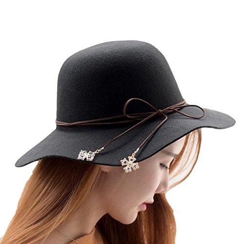 Leisial™ Mujeres Sombrero de Gran Ancho Elegante Sombrero Color Sólido Caliente Invierno Otoño Ajustable
