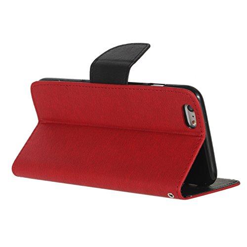 BONROY® Coque pour Apple iPhone 6 / 6S Plus (5,5 pouces),Housse en cuir pour Apple iPhone 6 / 6S Plus (5,5 pouces),datura étui en cuir PU Cuir Flip Magnétique Portefeuille Etui Housse de Protection Co rouge