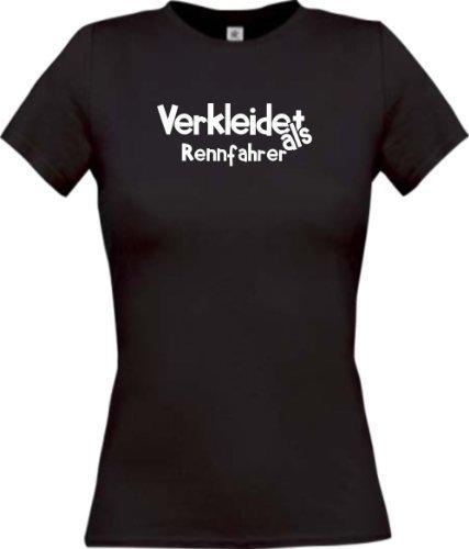 Lady-Shirt Verkleidet als Rennfahrer Karneval Fasching Kostüm Verkleidung, Farbe schwarz, Größe (Kostüm Für Rennfahrer Frauen)