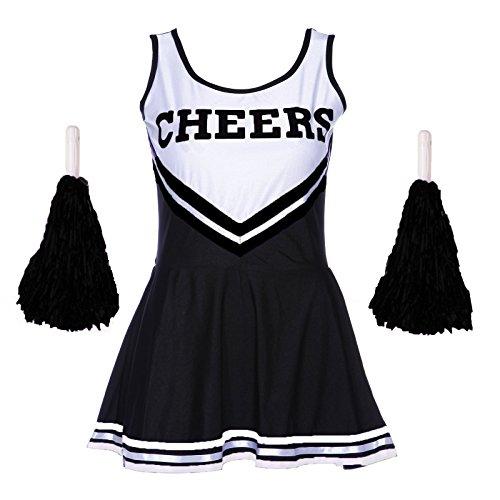 Damen Redstar – Cheerleader-Kostüm mit Pompons,Fantasiekleid, Kostüm für Sport, Highschool, Musical, Halloween –6Farben, Größen 34–42 mehrfarbig schwarz Ladies 14-16 (Kostüme Womens Fancy Passende Dress)