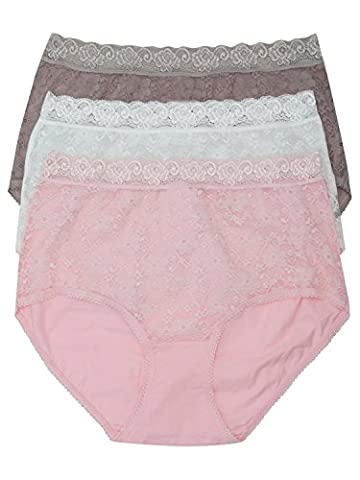 M&Co Ladies Plain Classic Cotton Stretch Lace Trim Everyday Full Brief - 3 Pack Multipack Pink