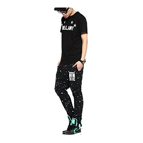 Pizoff Herren Hip Hop Harem Jogginghose aus gestepptem Hochglanz-Jersey Y0504