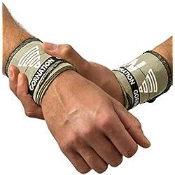 GORNATION Wrist Wraps Bandagen Handgelenke für Calisthenics, Fitness, Crossfit und Bodyweight Workout für Männer und Frauen (Premium Olive)