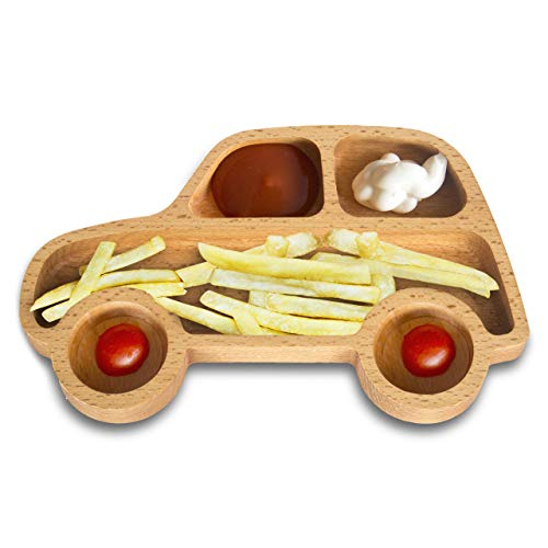 The Mammoth Design Car Shaped Kid's Appetizer, Snack Plate | Toddler, Baby Feeding Bowl | Child Meal Serving Dish | Divided, Organic Wood, Decorative | for Kindergarten, Nurseries, Birthday Party Bamboo Appetizer Tray