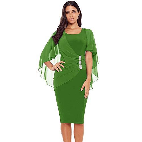 Rocke Frauen Kleid Rundhals Mesh Stitching Plissee Dünnes Kleid Unregelmäßige Einfarbig Hohl Polyester Sieben Viertel Ärmel (Color : 3, Size : L)