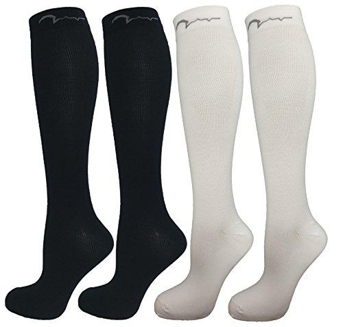 Sport-jugend-socke (4 Paar Jugend Kompressionsstrümpfe für Laufen, Jugend Leichtathletik, 2 weiss, 2 schwarz, Größe M (10-16))