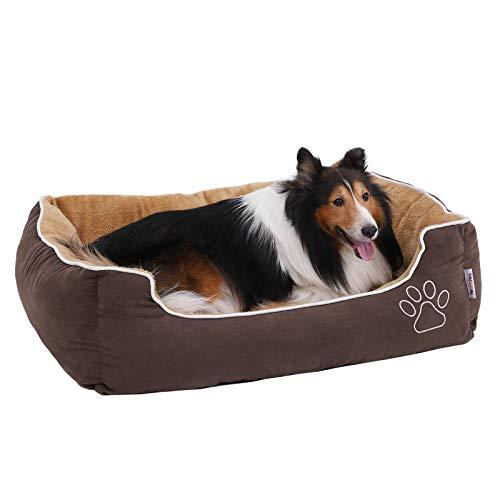 FEANDREA Weiches Luxus Hundebett, L, mit abnehmbarem Kissen, braun+beige, 90 x 25 x 75 cm, PGW06YC