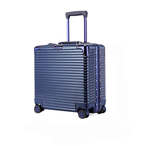 Di Grazia 18 inch Business Class Boarding Rolling Laptop Cabin Case Luggage Travel Trolley Box   Blue