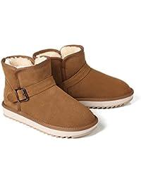 3aef0c294 BYUYAN Las botas El Aumento de la Nieve Botas de Invierno cálido Short-New  Hembra Plus Inferior Grueso Algodón…