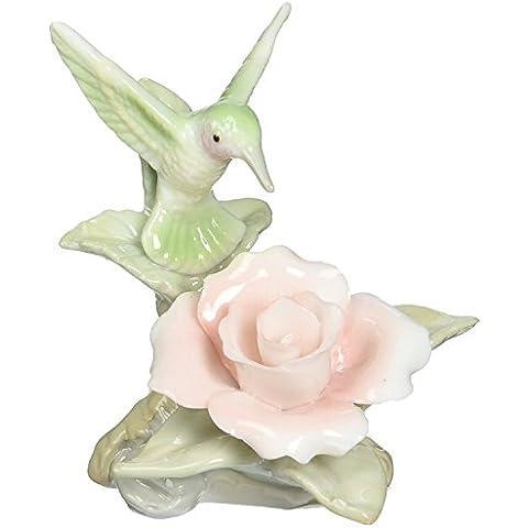 Cosmos 96441 Fine Porcelain Mini Hummingbird with Rose Figurine,