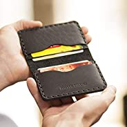Nero portafoglio in pelle. Porta Carte di credito, contanti o carta d'identità. Tasca Unisex in stile rustico.