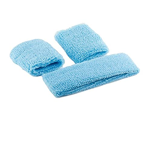 Mytoptrendz®Unisex Boys And Girl's Gym/ Sports Stretchy Terry Fabric Sweatband Headband And Wristband Set In Various Colour (Turquoise