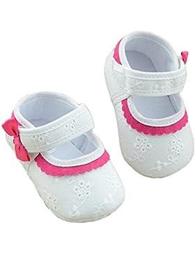 Culater Baby Mädchen weich Bestickt Blume Anti-Rutsch Schuhe Weiß