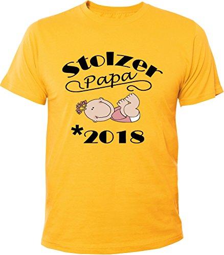 Mister Merchandise Herren Men T-Shirt Stolzer Papa - 2018 Tee Shirt bedruckt Gelb