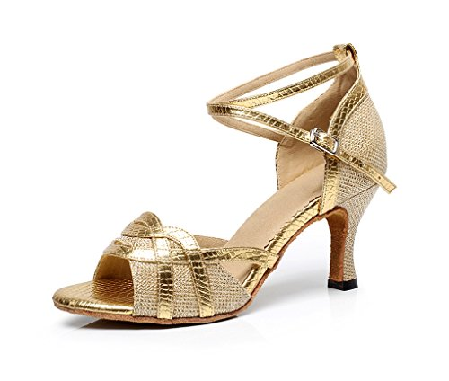 Minitoo QJ7027 Women'Glitzer Flare Heel stylische Latein Tanzschuhe Gold