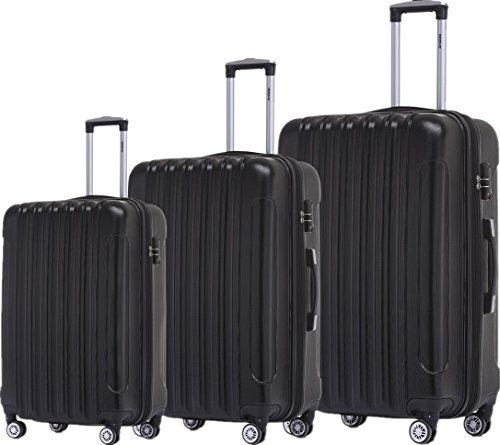 BEIBYE TSA Schloß, Zwillingsrollen, Dehnungsfuge, Hartschale Trolley Koffer Kofferset Reisekoffer Gepäckset (Schwarz)