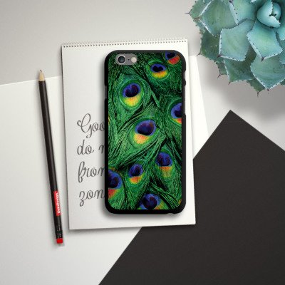 Apple iPhone 6 Housse Étui Silicone Coque Protection Paon Ressorts Jungle CasDur noir