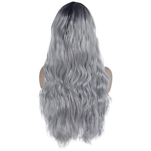 Xmansky Perücke,Gradient Lace Front Synthetische Haar Perücke Lange Schwarze Frauen Weiß Front Lace Perücken,Anzug für Karneval/Maskerade