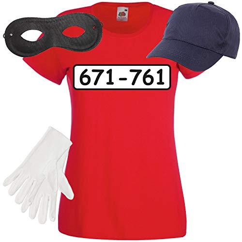 Weibliche Kostüm Räuber - Shirt-Panda Damen T-Shirt Panzerknacker Kostüm + Cap + Maske + Handschuhe Verkleidung Karneval SET05 T-Shirt/Cap/Maske/Handschuhe M