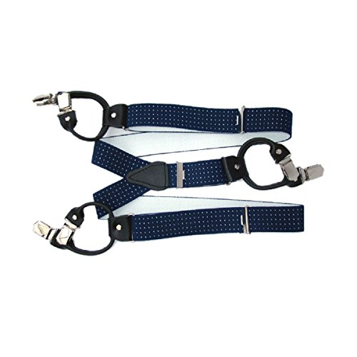 Preisvergleich Produktbild Hosenträger 6 Stark Clips Farbe & Länge Wählbar 3,5cm Breit ( Blau Punkten 140cm )