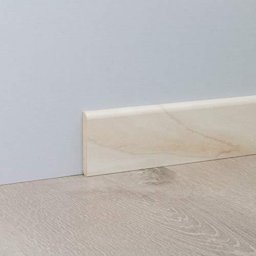 Sockelleiste Fußbodenleiste Standard aus MDF in Alaska Birke 2600 x 10 x 60 mm - Birke Parkett