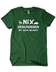 Nix geschossen ist auch gejagt - Jäger T-Shirt - dunkelgrün - Gr. S bis XXL :: (Schützenkönig Shirt, Jagd Shirt)