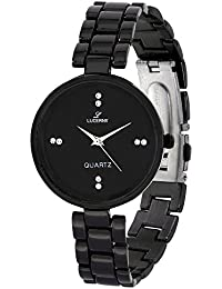 LUCERNE Analogue Black Designer Dial Black Metal Strap Casual Gifts Watch For Modern Girls.