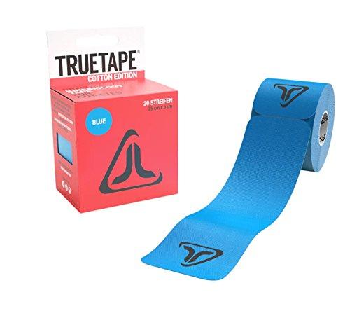TRUETAPE Cotton Edition elastisches Kinesiologie Tape - 20 vorgeschnittene Kinesio Tape Streifen 25cm x 5cm (Blau)