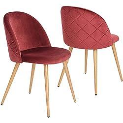 Lot de 2 Chaises pour Salle à Manger Coveas Confort Plus en Velours avec Jambes en Métal Style Bois - Bordeaux