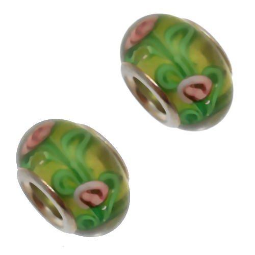 Acosta-Perline in vetro di Murano, colore: verde con fiore, colore: rosa, sistema Slide-On-Off & Bracciale con Charms, confezione da 2 pezzi, placcato argento