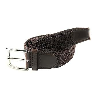 MYB Cintura elastica intrecciata per Uomo e Donna - diversi colori e dimensioni (105 - 110 cm, Marrone)