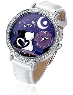 Uhr mit IP Silber und Armband Weiß–Verliebte Katzen