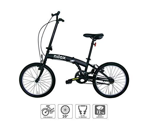 Nilox Micro Bike 20P-X0 Bicicleta (Plegado, Completo, Acero, 50,8 cm (20), Cadena), Unisex Adulto, Negro