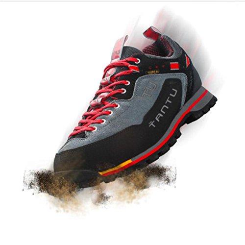 Pelle di cuoio Sneakers antisdameli  Autunno e modelli invernali Scarpe all'aperto  slittata traspirante ?Blue Red Green? black ash red