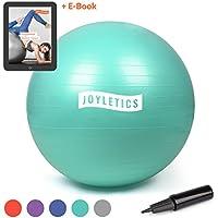 Joyletics Gymnastikball + e-Book »Training mit Gymnastikball« | Sitzball und Fitnessball für EIN entlastendes Sitzen und vielfältiges Ganzkörpertraining in Verschiedenen Größen und Farben + Pumpe