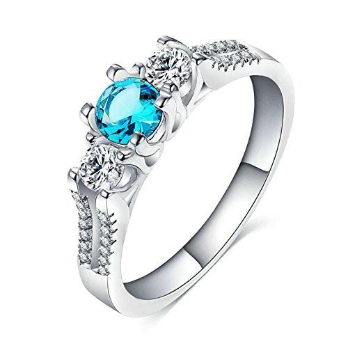 AMDXD Schmuck Ehering Damen Versilbert Blau Weiß Runde Zirkonia Silber Größe 60 - Mens Palladium Eheringe