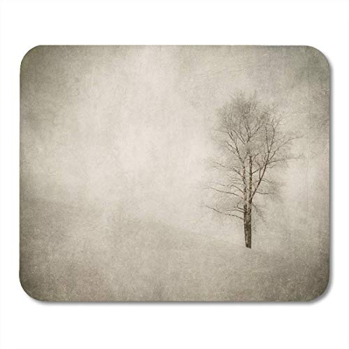 Deglogse Gaming-Mauspad-Matte, Vintage White Silhouette of Winter Landscape Tree Aged Aging Mouse Pad, Desktop Computers mats -