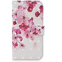 EuCase Funda para Huawei P20 Lite, Carcasa Libro con Tapa Flip Case Protectora Cartera 3D Pintada de Piel PU Cuero Soporte Magnético Cover Huawei P20 Lite Carcasa Flor de durazno