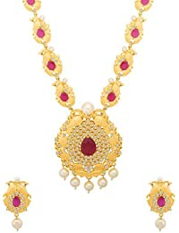 Voylla Traditional Brass With Yellow Gold Plated Cubic Zirconia Necklace Sets For Women - B077MKDJ75