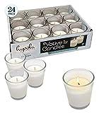 Hyoola Weiße Votivkerzen - klare Glas-Tassen, geruchlos, extra Lange Brenndauer 15 Stunden - für Party-Dekorationen, Geburtstag, Hochzeit und Abendessen weiß