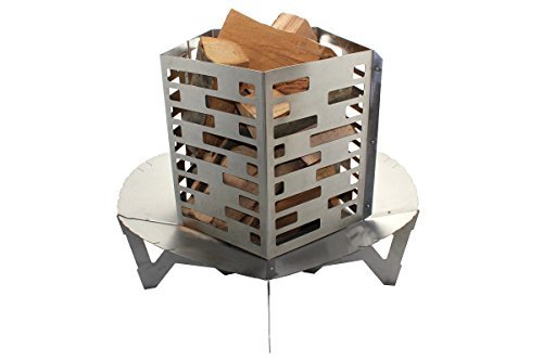 Premium Edelstahl V2A Feuerschale 80 cm im Turbinen Design + Feuerkorb • Feuerkorb für den Garten • Feuerstelle als Grill • zerlegbar (Feuerschale + Feuerkorb)