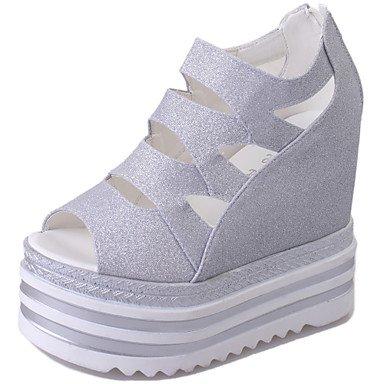 LvYuan Da donna-Sandali-Ufficio e lavoro Formale Casual-Club Shoes-Zeppa-PU (Poliuretano)-Nero Rosa Argento Black